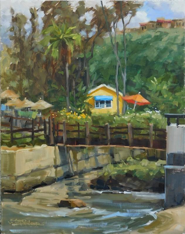 """Sunny Day Cottage"" original fine art by Karen Werner"