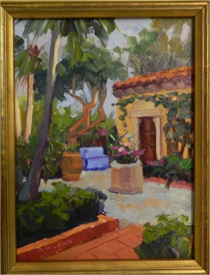 """Spanish Facade Garden, 9x12, plein air, Society of the 4 Arts, Palm Beach Garden Club, Lighthouse"" original fine art by Maryanne Jacobsen"