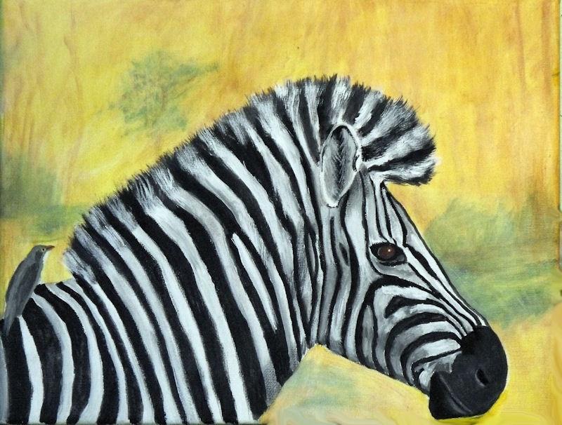 """""""zebra with oxpecker"""" original fine art by Dia Spriggs"""