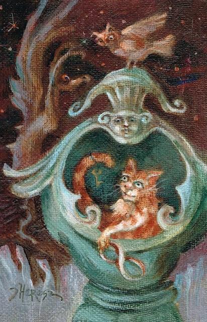 """Schrodinger's Cat Always Lives, experiment # 3"" original fine art by Theresa Taylor Bayer"