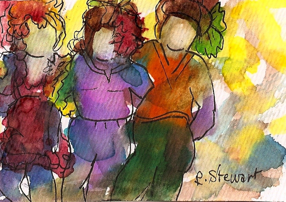"""""""ACEO, 3 Feathered Friends"""" original fine art by Penny Lee StewArt"""