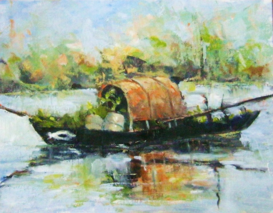 """""""Asian Boat"""" original fine art by Connie Snipes"""