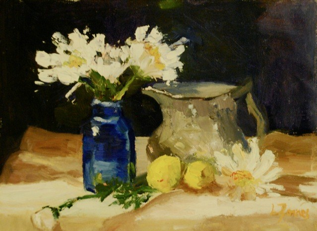 """Blue Vase with White Daisies and Pewter Jug"" original fine art by Liz Zornes"