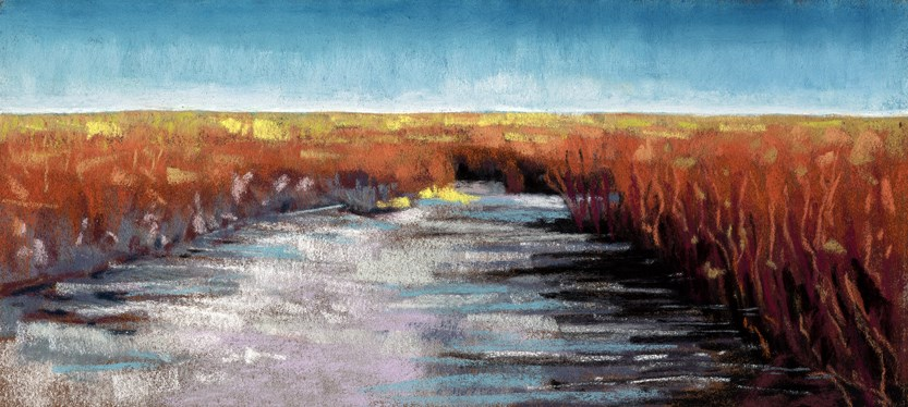 """Golden Fields landscape painting"" original fine art by Ria Hills"
