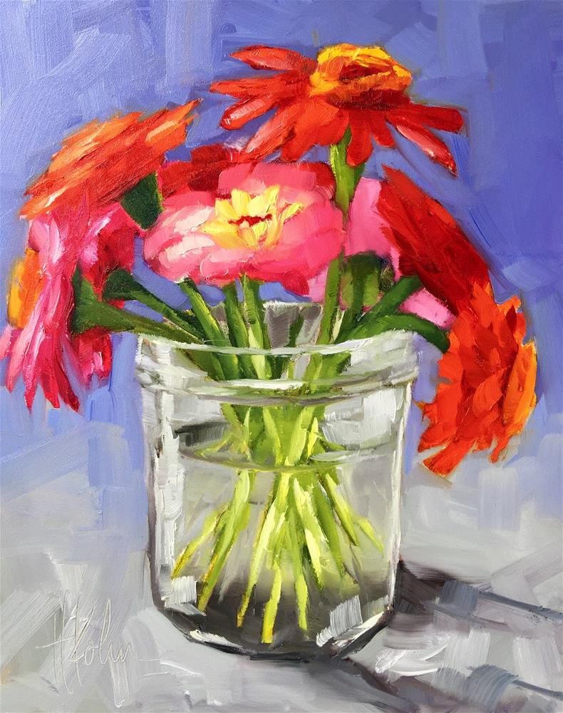 """Zinnias in Jar"" original fine art by Hallie Kohn"