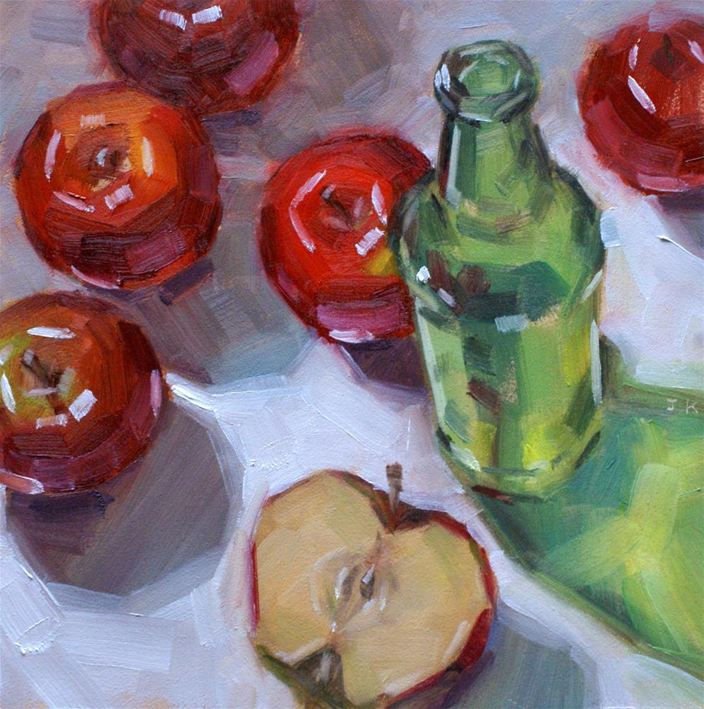 """""""'Green Glass Bottle'"""" original fine art by Jiyoung Kim"""
