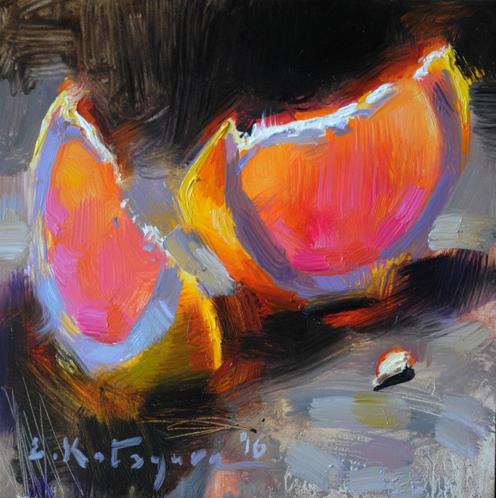 """Two Grapefruit Slices"" original fine art by Elena Katsyura"