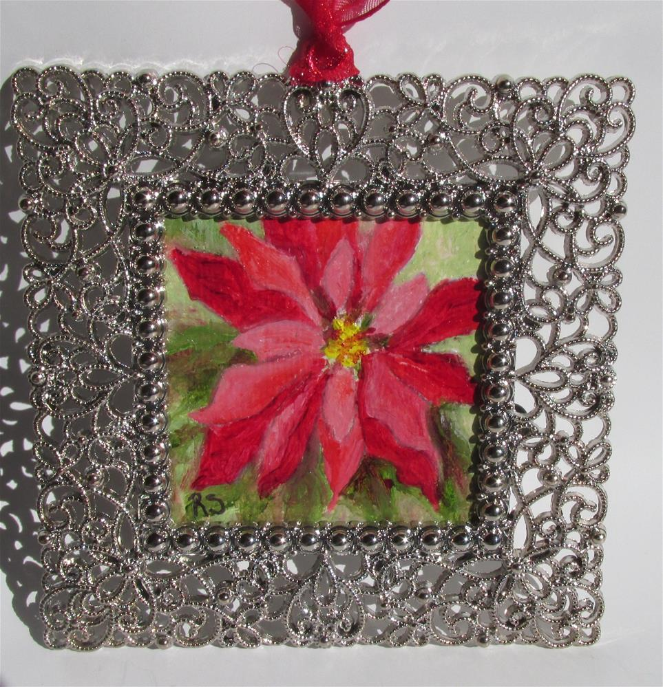 """Poinsettia #3 Ornament"" original fine art by Ruth Stewart"