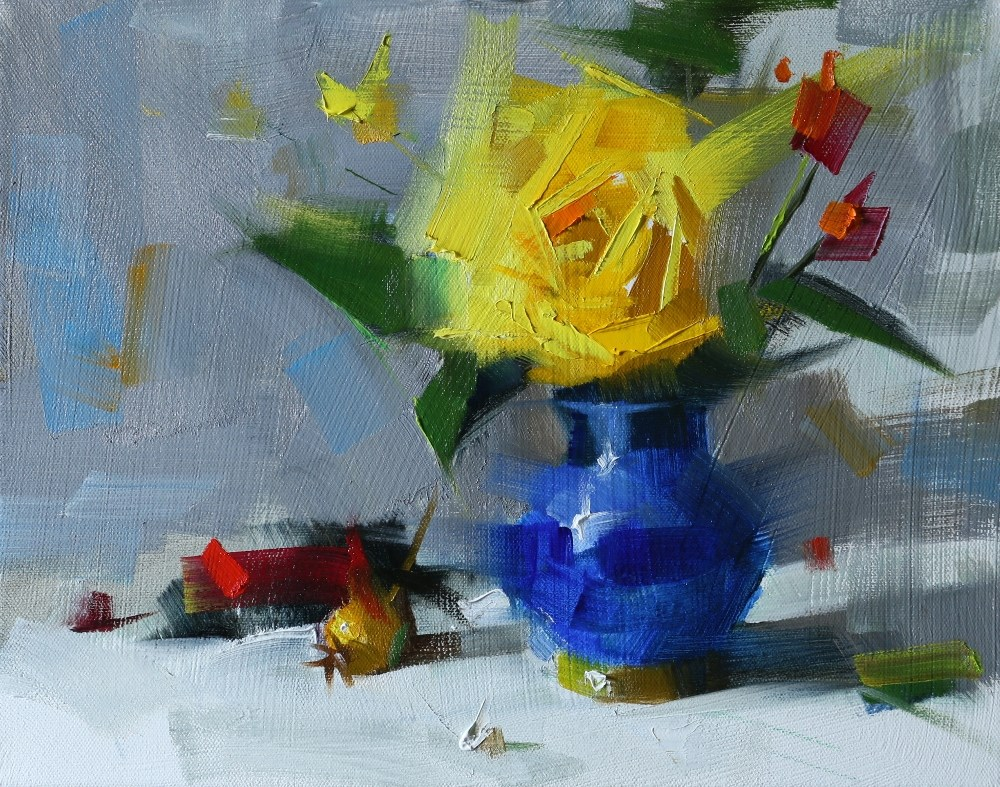 """""""""""Yellow Rose in Blue Vase"""" original fine art by Qiang Huang"""