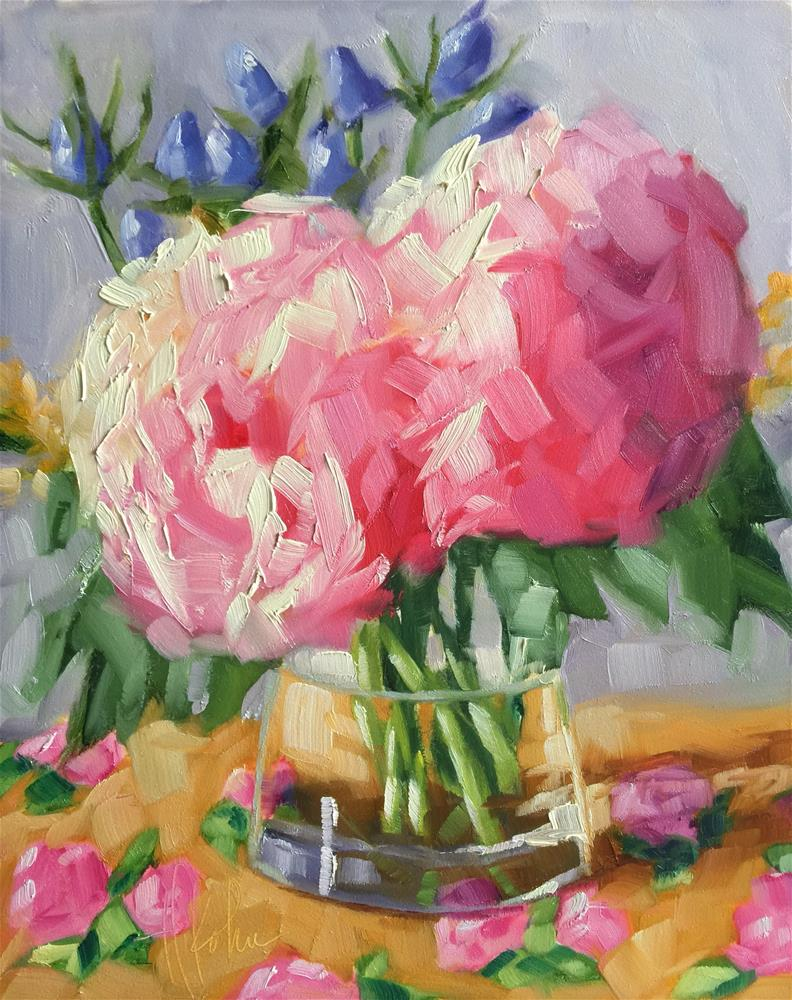 """""""Pink Hydrangeas"""" original fine art by Hallie Kohn"""