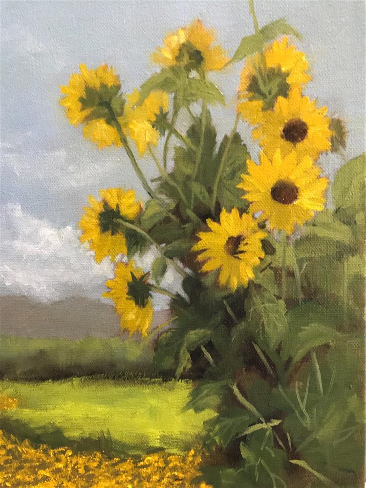 """""""sun flowers at The Von Trapp Lodge in Stowe"""" original fine art by Betty Argiros"""