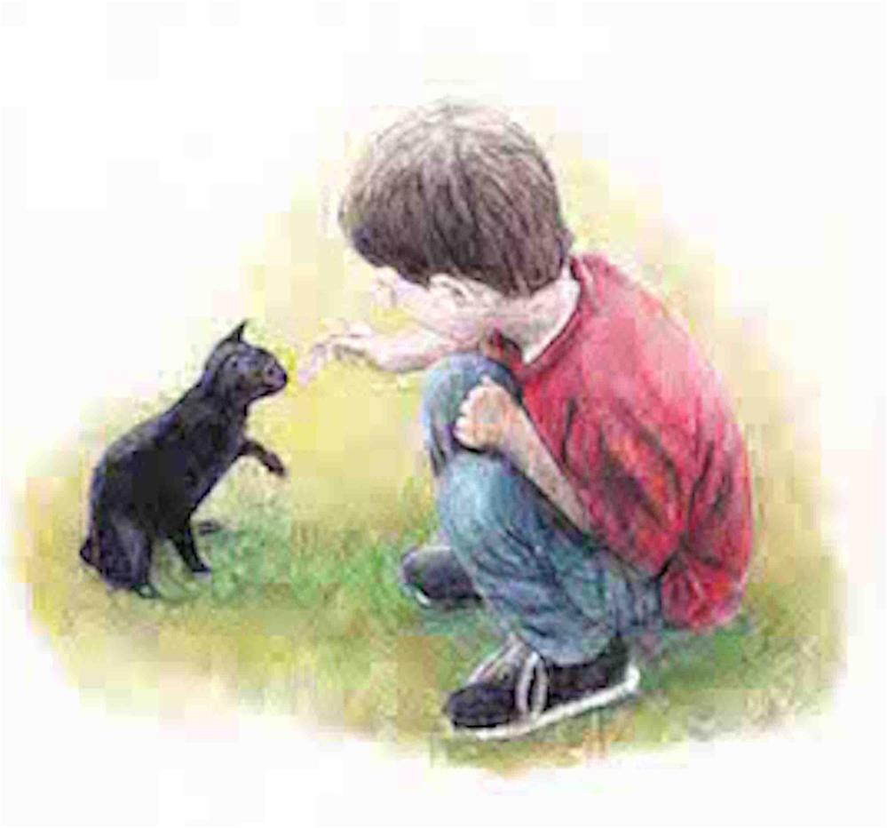 """""""Boy with Cat"""" original fine art by Charlotte Yealey"""