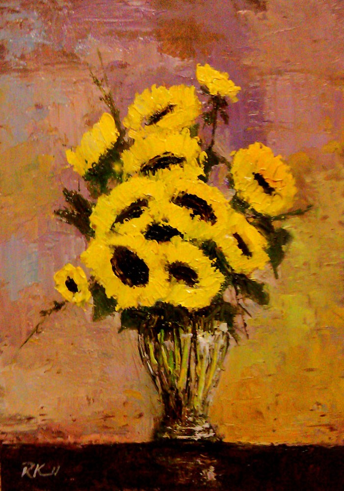 """Sunflowers"" original fine art by Bob Kimball"