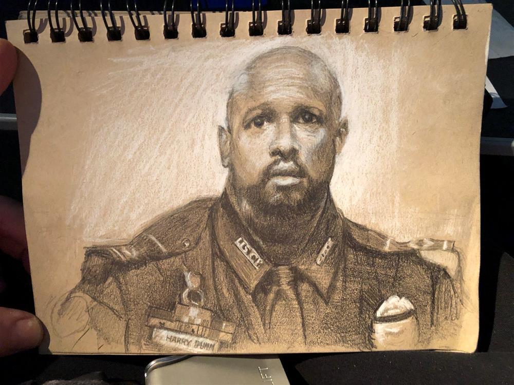 """American Hero, Officer Harry Dunn"" original fine art by Garry Kravit"