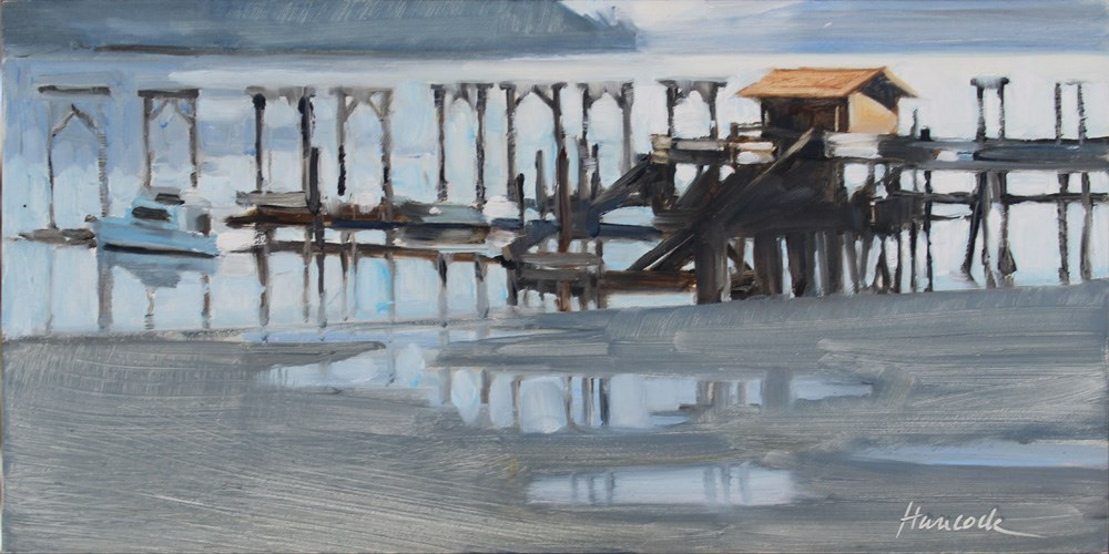 """Dockton Marina and Reflections"" original fine art by Gretchen Hancock"