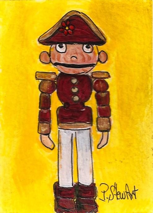"""""""ACEO Nutcracker Little Wooden Toy Soldier Mini Painting SFA OOAK Penny StewArt"""" original fine art by Penny Lee StewArt"""