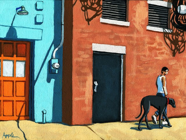 """Walking Tall - woman on city street with big dog"" original fine art by Linda Apple"