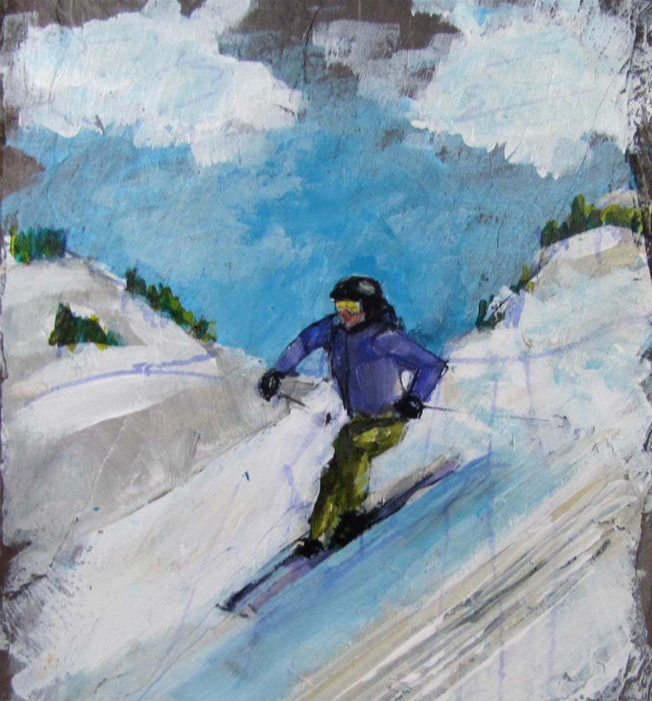 """Day 30 Slate- Alpine Skier"" original fine art by Christine Holzschuh"