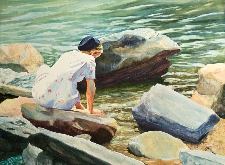 """Meditation"" original fine art by Jini James"