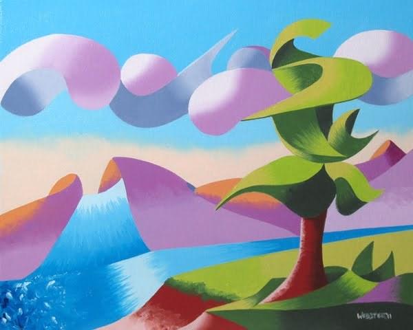"""Mark Webster - Abstract Geometric Foothill River Landscape Oil Painting"" original fine art by Mark Webster"