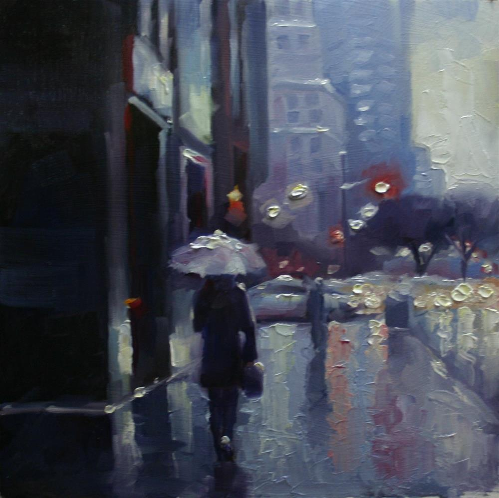 """Winter Rain, University Ave, Toronto"" original fine art by Catherine Jeffrey"