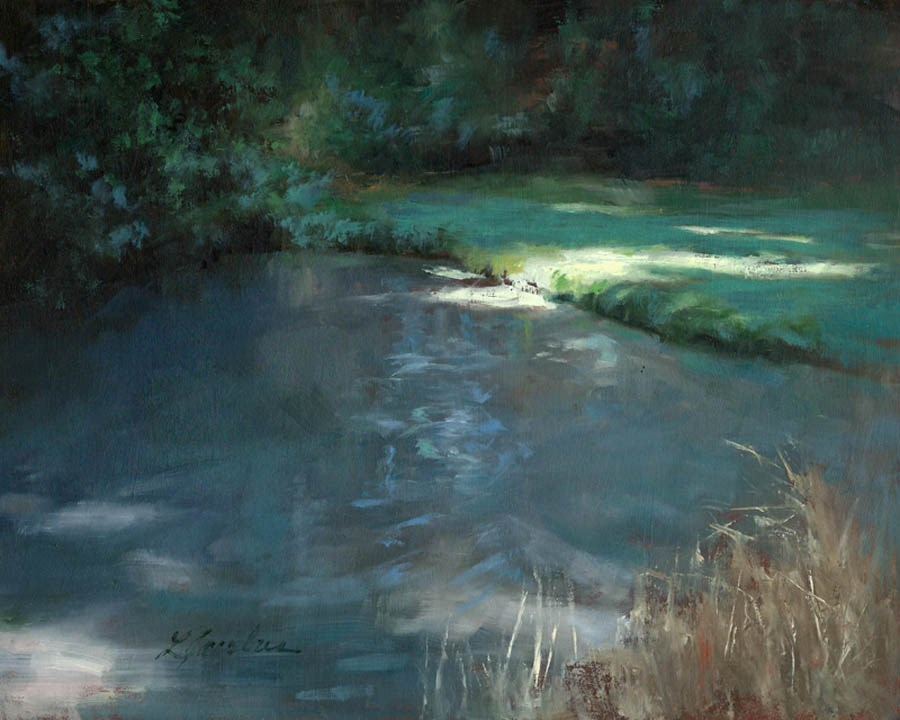 """""""Secluded Pond"""" original fine art by Linda Jacobus"""