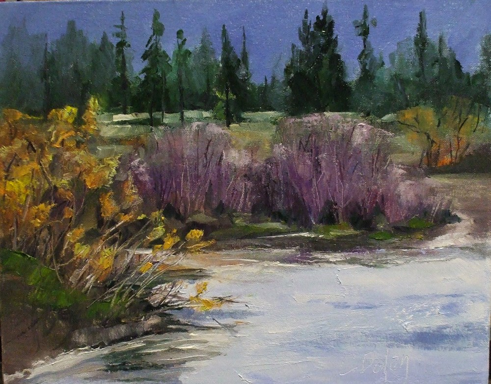 """Winter Willow Riverbank"" original fine art by Cheryl Williams Dolan"