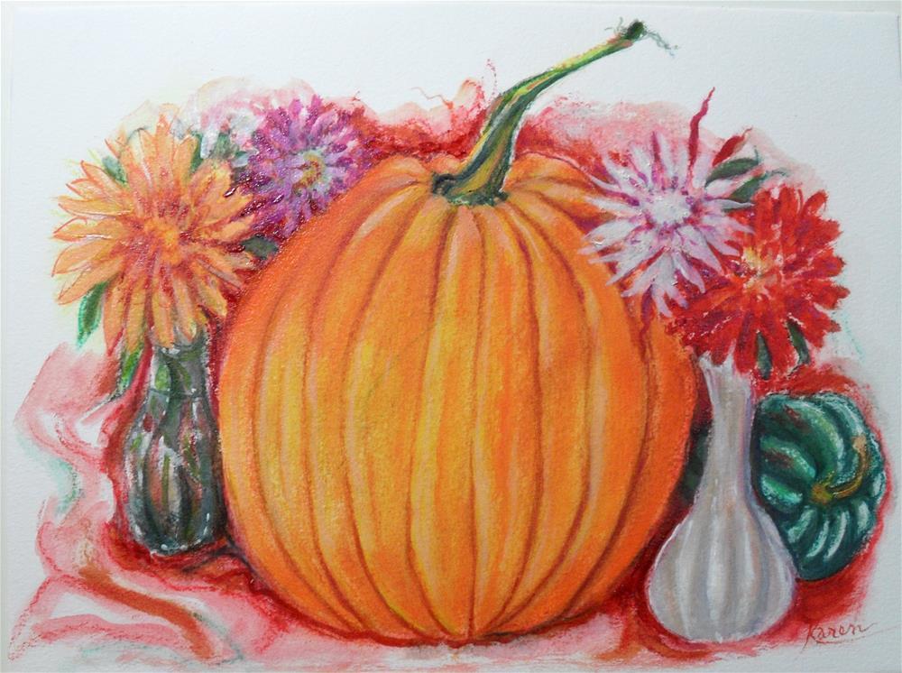 """Pumpkin Love"" original fine art by Karen Roncari"