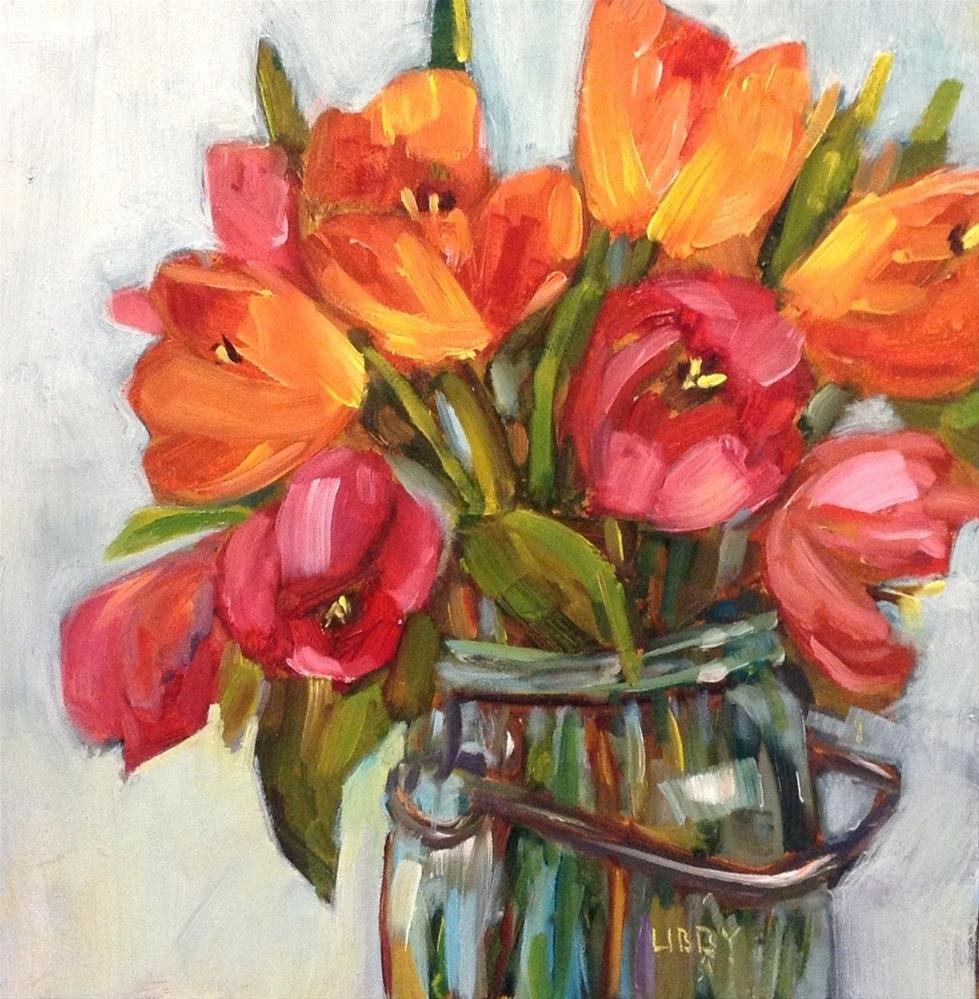 """Warm Tulips"" original fine art by Libby Anderson"