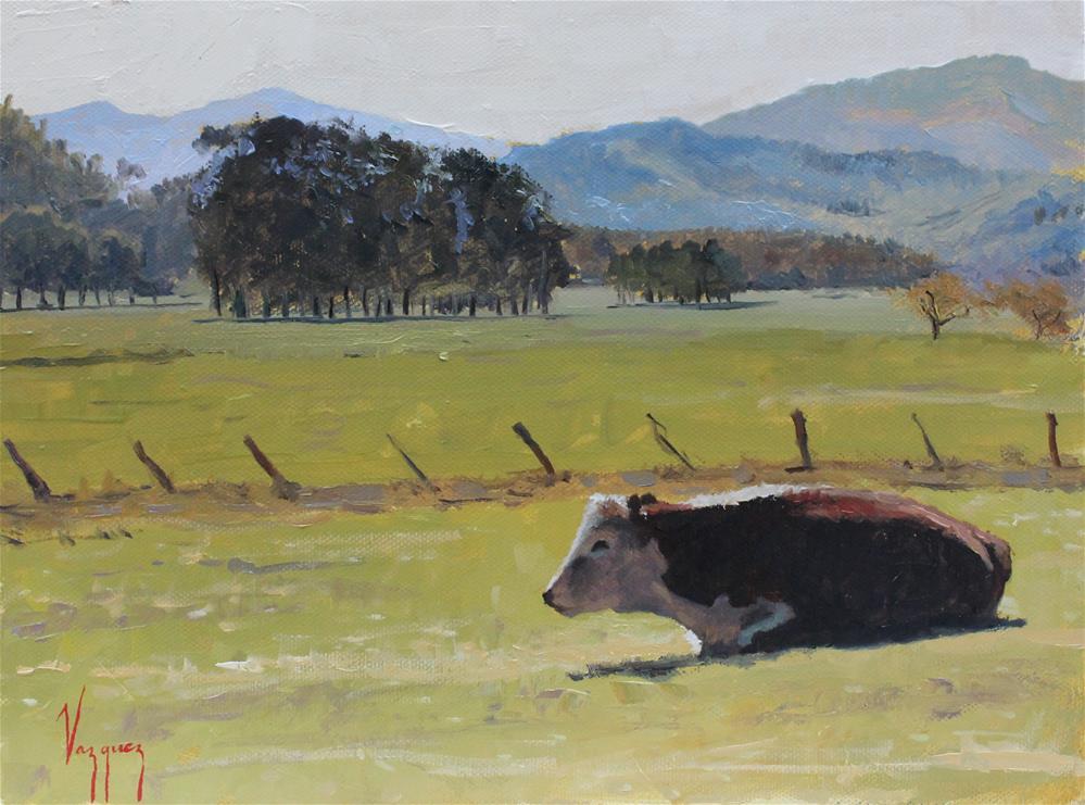 """Resting cow"" original fine art by Marco Vazquez"