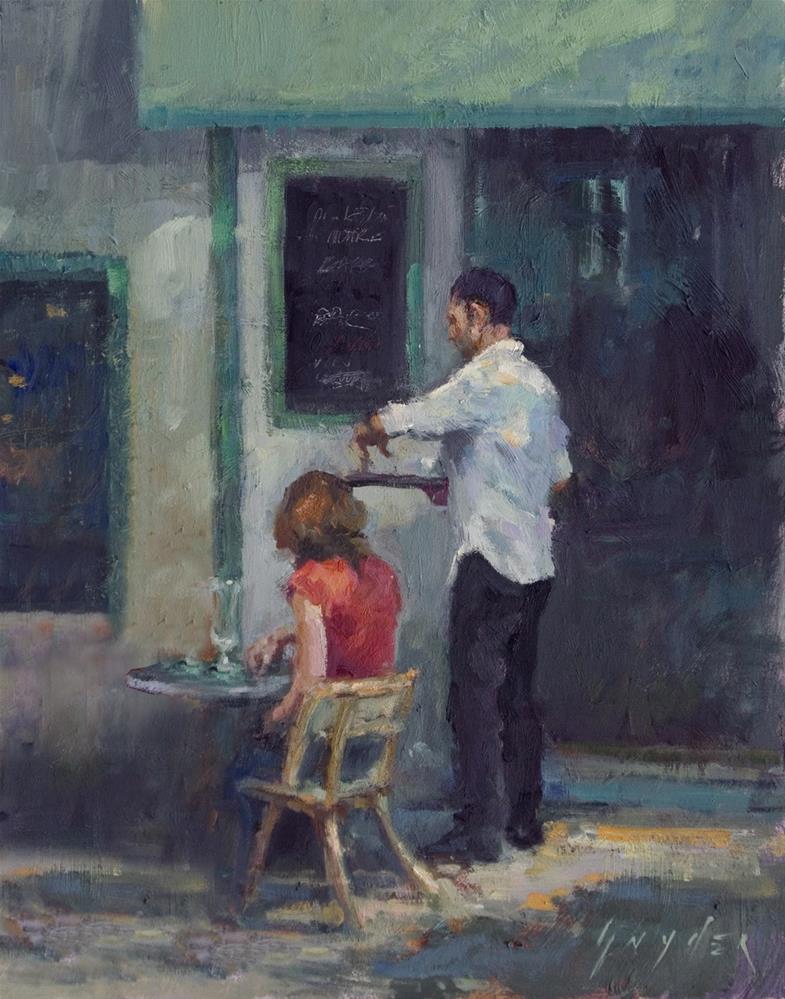 """""""Café Le Pecheur"""" original fine art by Julie Snyder"""