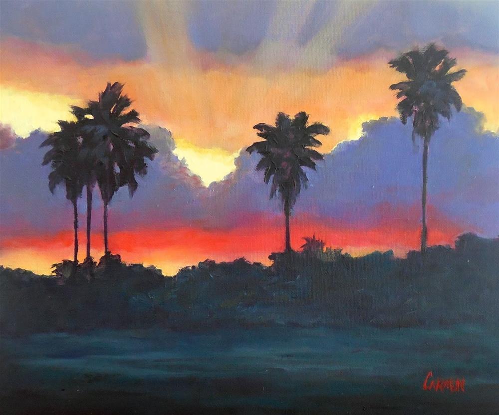 """""""Florida Sunset, 10x8 Original Oil Landscape Painting"""" original fine art by Carmen Beecher"""