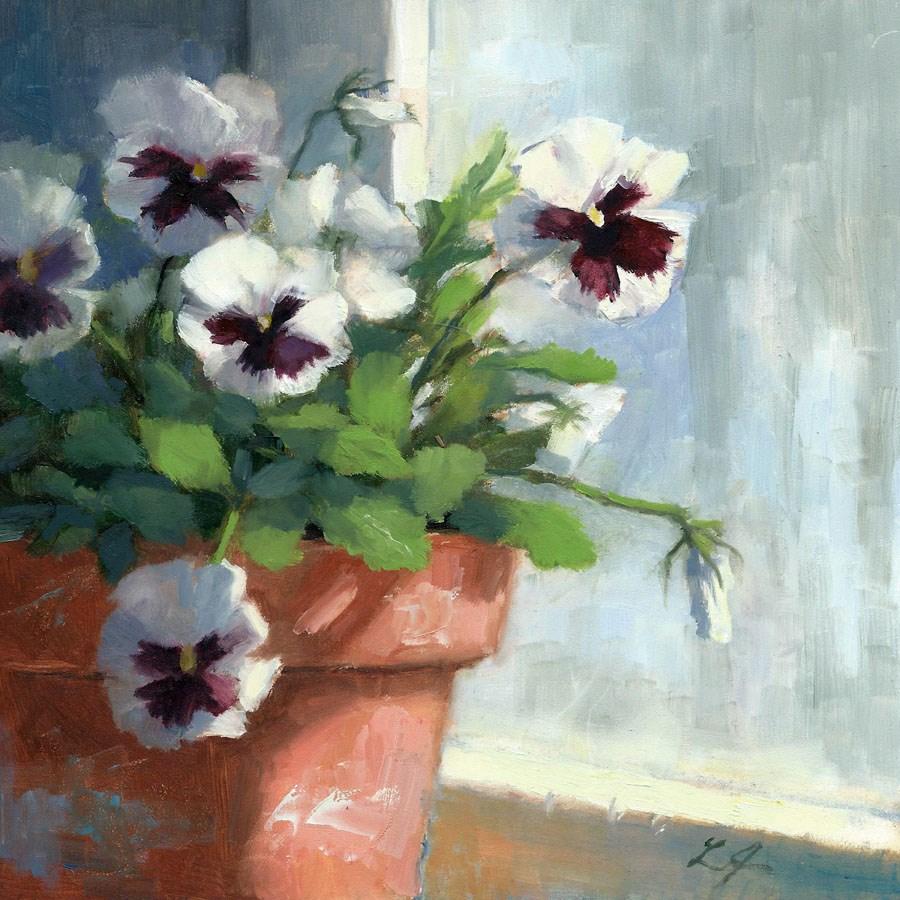 """Peeking Pansy"" original fine art by Linda Jacobus"