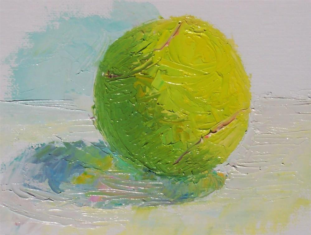 """Palette Knife Tennis Ball,still life,oil on canvas pad,6x6,priceNFS"" original fine art by Joy Olney"