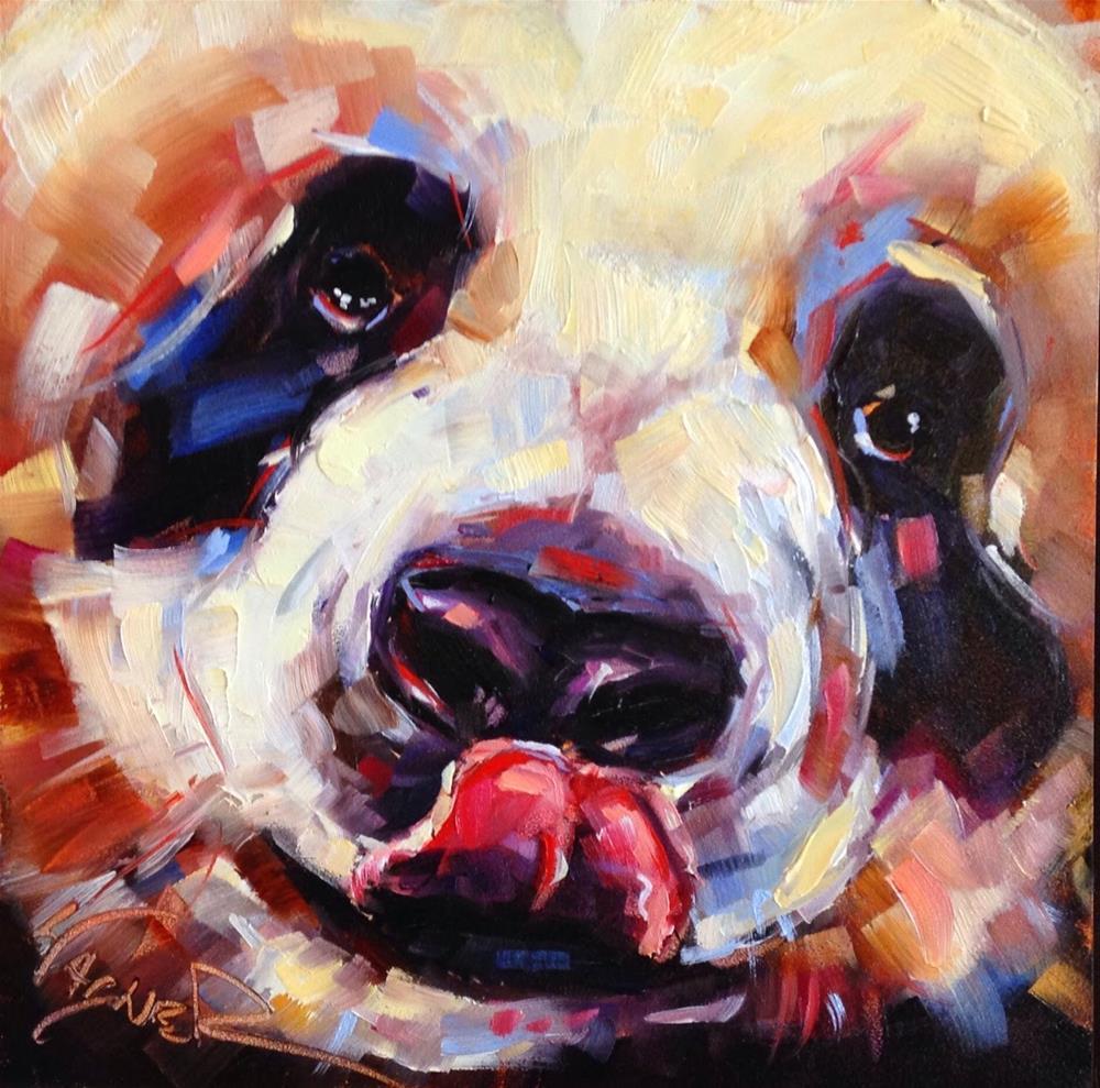 """Loving Color Day 13- ORIGINAL  PANDA BEAR  PAINTING in OILS by OLGA WAGNER"" original fine art by Olga Wagner"