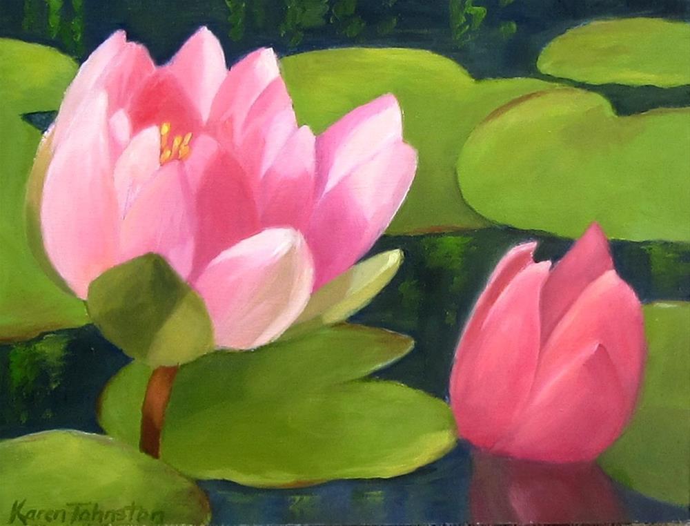 """""""Waterlilies"""" original fine art by Karen Johnston"""