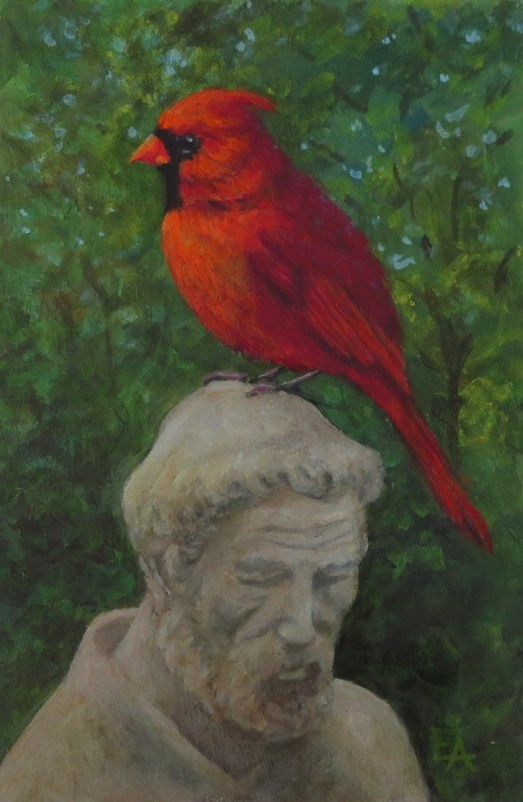"""Cardinal Francis"" original fine art by Elizabeth Elgin"