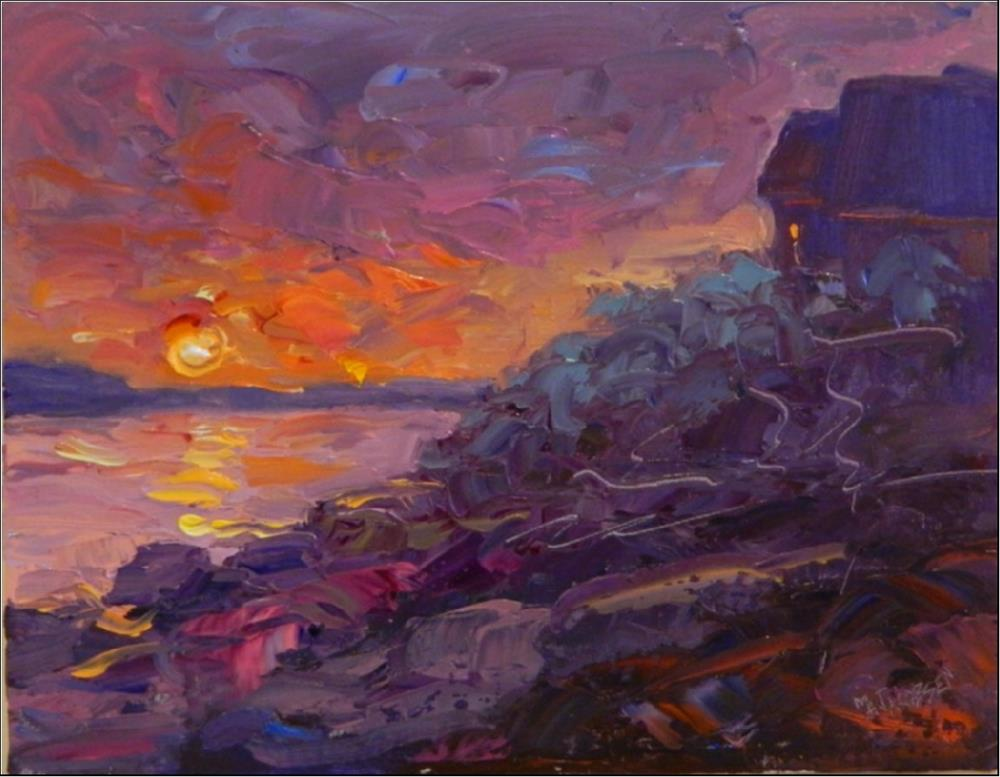 """""""Sunrise, Gully Point, 11x14, oil on linen, special price! Rockport painting, Gully Cove, sunrise,"""" original fine art by Maryanne Jacobsen"""