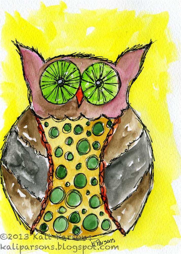 """Bedazzled Owl"" original fine art by Kali Parsons"
