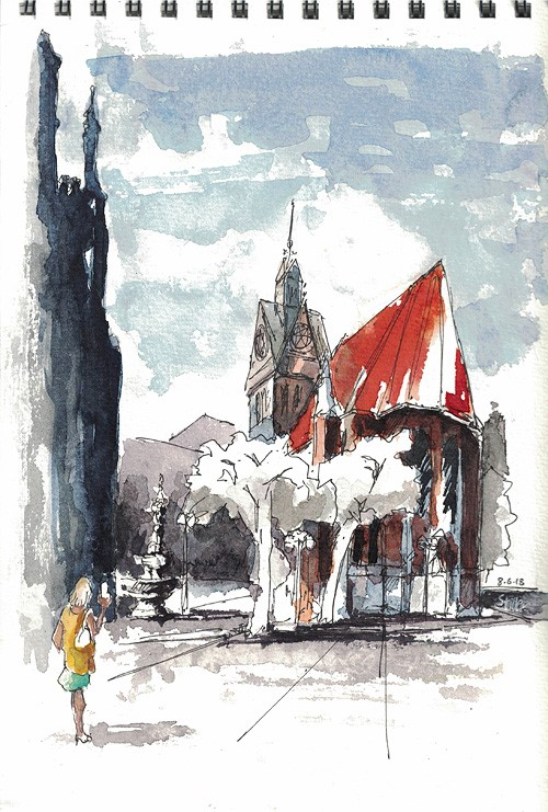 """2545 Meet me at the Market Church"" original fine art by Dietmar Stiller"