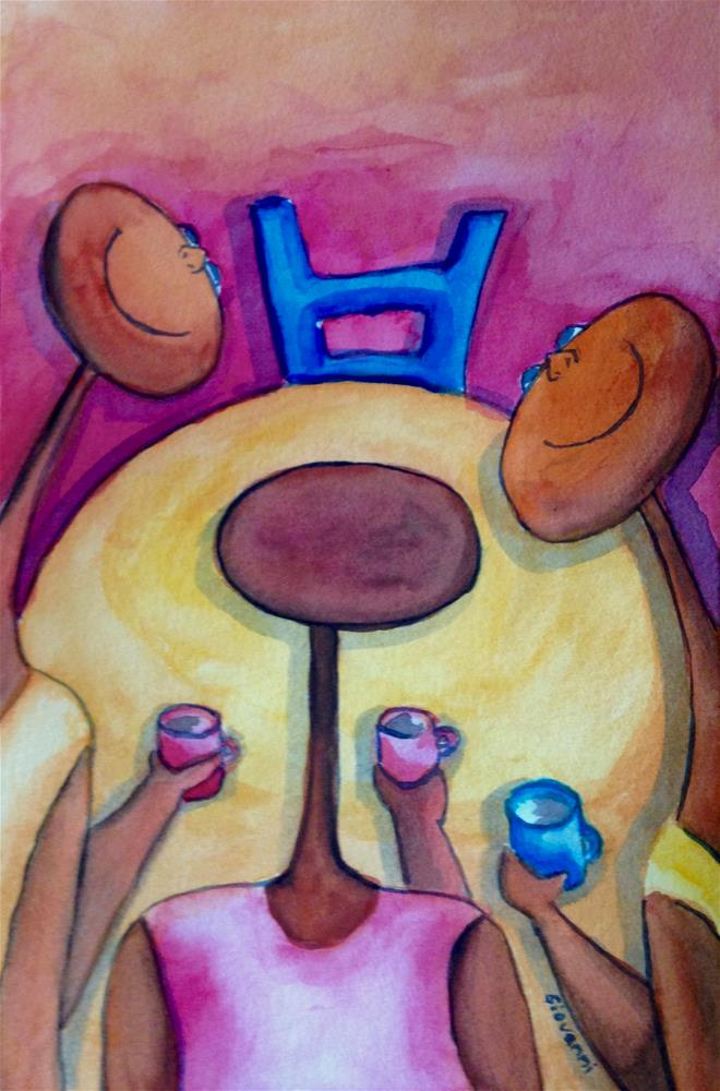 """Coffee time with friends"" original fine art by Giovanni Antunez"