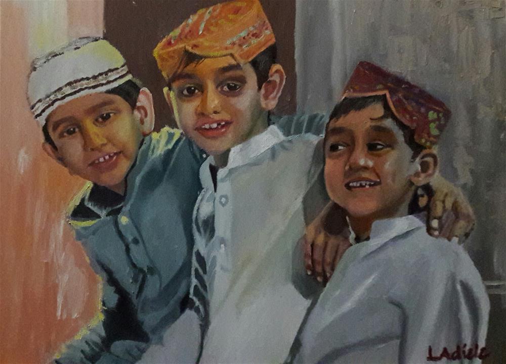 """Three Friends"" original fine art by Linda Adiele"