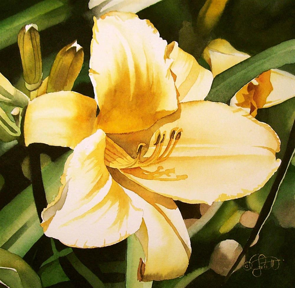 """Lemon Yellow Day Lily"" original fine art by Jacqueline Gnott, TWSA, WHS"