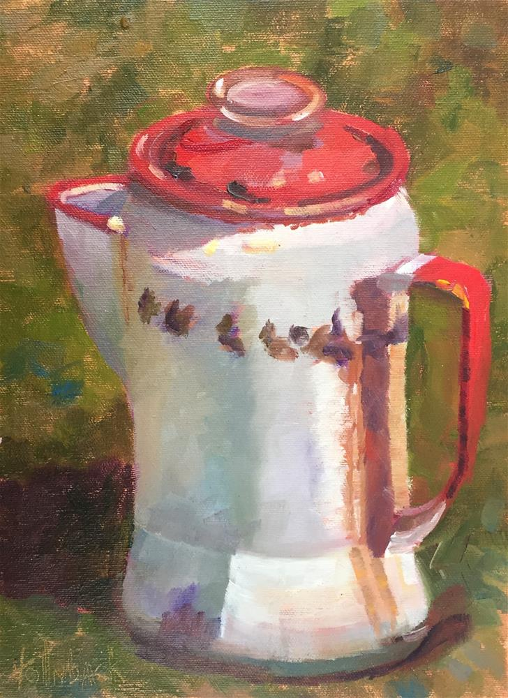 """Old Coffee Pot"" original fine art by Pam Holnback"