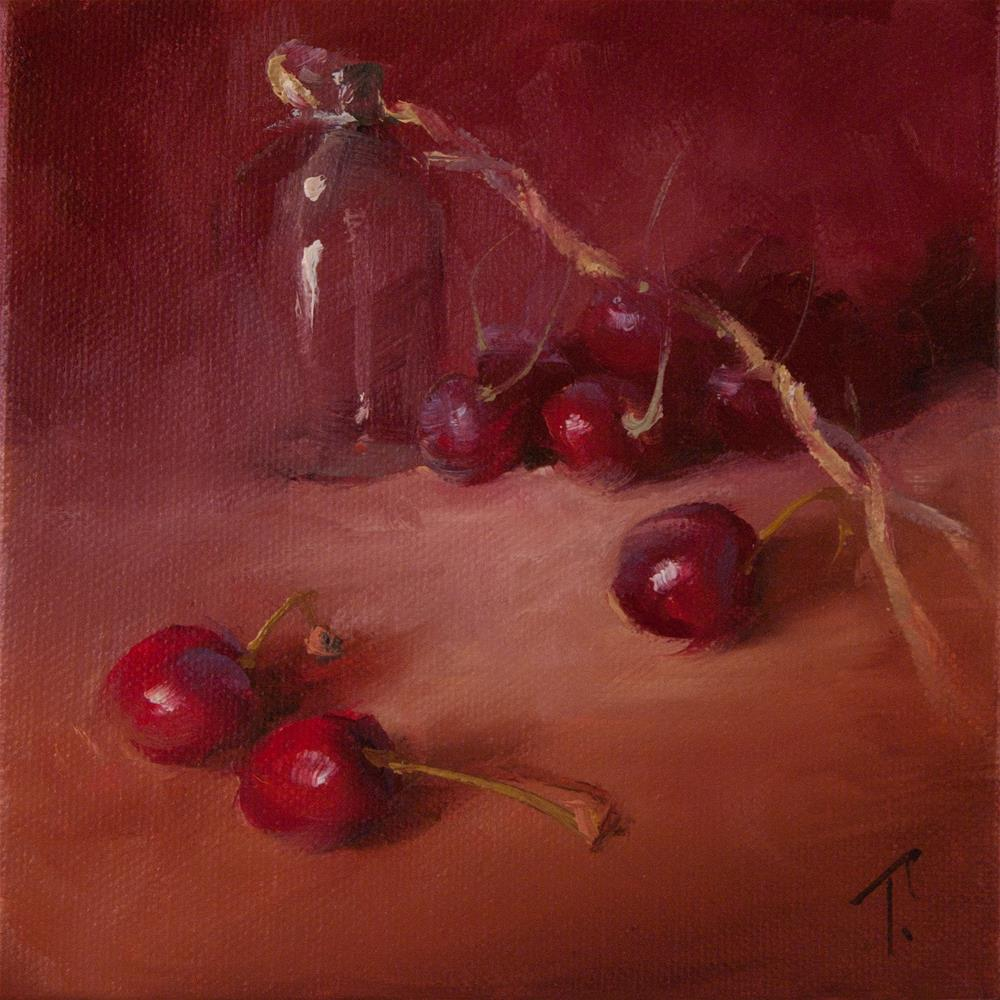 """Glass Study with Cherries"" original fine art by Lori Twiggs"