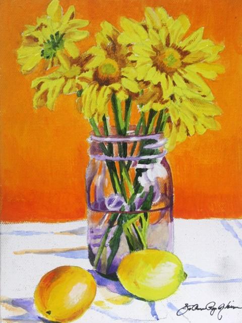 """Lavendar Jar with Mums"" original fine art by JoAnne Perez Robinson"