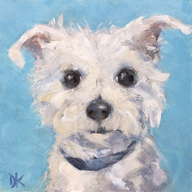 """Dog Days of Summer - Louie Dog Portrait by Deb Kirkeeide"" original fine art by Deb Kirkeeide"