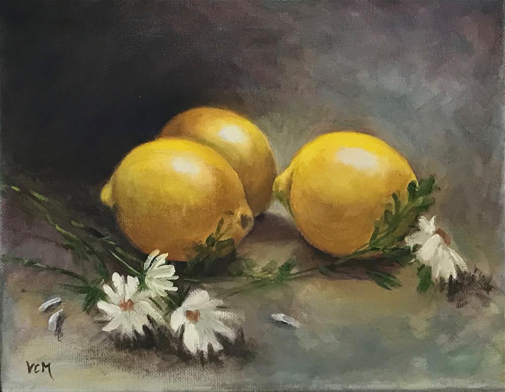 """Lemon Study with Daisies"" original fine art by Vana Meyers"