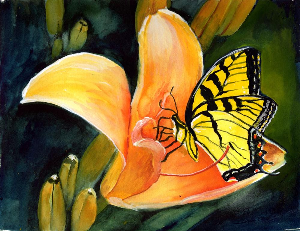 """""""Yellow Swallowtail Butterfly on Lily"""" original fine art by Bunny Griffeth"""