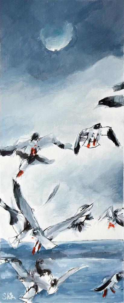 """""""2535 Segull Flight"""" original fine art by Dietmar Stiller"""
